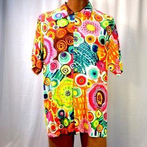 Jams World Psychedelic Vibrant Hawaiian Camp Shirt